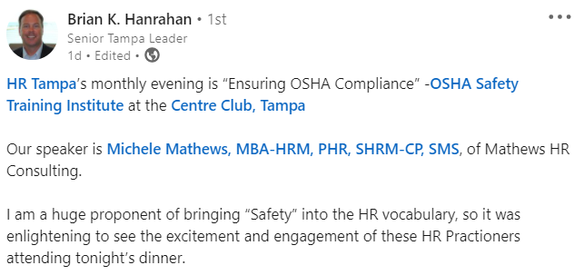 Positive Review given by Brian Hanrahan about Michele Mathews HR and OSHA training